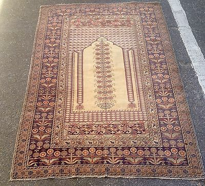 Antique Turkish Fine Prayer Rug With Cotton High Light