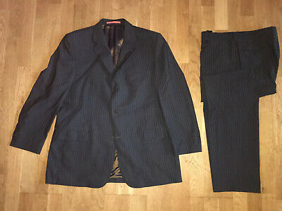 TED BAKER ACCELERATE single breast wool pinstripe suit 44R 38R CHARCOAL GREY