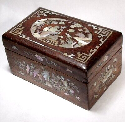 ANTIQUE c1890 ROSEWOOD MOTHER OF PEARL INLAID TRINKET JEWEL BOX China orient
