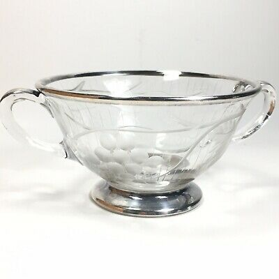 Vintage Etched Glass Sugar Bowl Sterling Silver Overlay by Rockwell