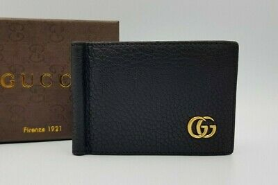 Gucci signature leather money clip wallet