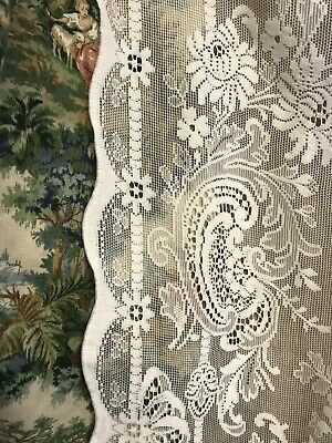 """Beautiful Floral Scallops Heritage White cotton lace curtain panel 58""""/62"""""""