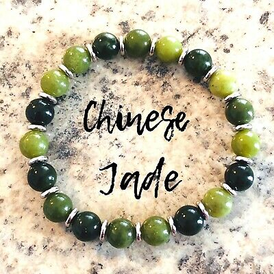 Genuine Chinese JADE Bracelet 925 Sterling Silver AAA Grade Natural Stone