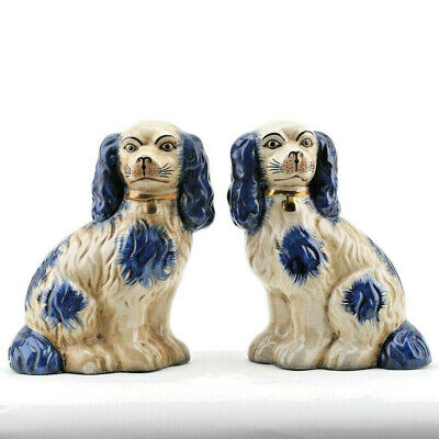 "Reproduction Staffordshire Dogs King Charles Spaniel Pair Figurines Blue 9""H"