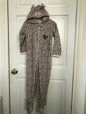 Primark Leopard Cat Girls All In One Pyjamas Age 5-6