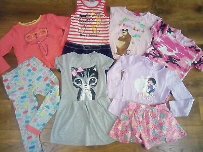 Girls summer holiday tops skirts dresses pjs bundle 7-8 years