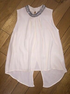 *River Island* Gorgeous Girls Cream Beaded Sparkle Neckline Floaty Top Party