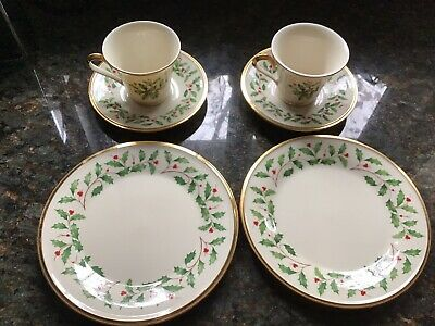"Lenox Holiday China 8"" Salad Plate, Tea Cup, Saucer  2 Sets, Dimension, 2 PC.NWT"