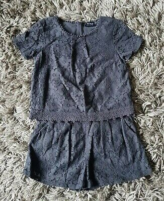 Girls 2-Piece Outfit from Next - Age 9 Years - Grey Lace Shorts and Top