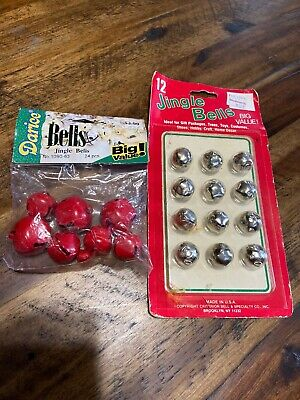 Lot Silver And Red Small Jingle Bells Assorted Sizes