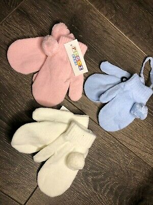 infants babies boys girls mitts mittens BOBBLE white pink blue 6-18 m ON STRING