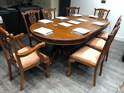 Antique Design chippendale dining Table & 8 chairs 2 Carvers  Mahogany 8ft X 4ft