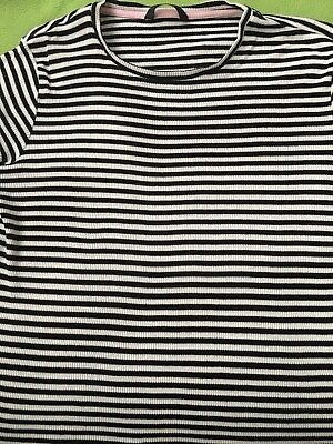 Black / White Stripe Girls Top by George - Age 11-12