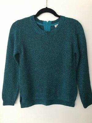 Next Jumper Top In Teal Green Sparkle.  Size 11yrs