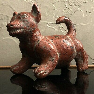 Mexican Pre-Columbian Style Ceramic Colima Dog Standing Xoloitzcuintli Sculpture
