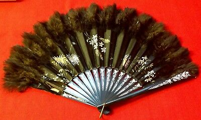 Antique, Chinese Hand Painted & Hand Made Black Satin Fan With Ostrch Feathers