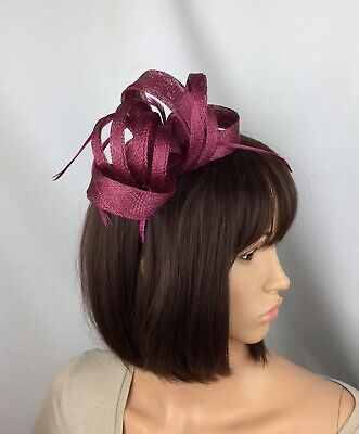 Burgundy Wine Pink Fascinator Ladies Day Ascot Races Mother Of The Bride Wedding