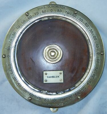 HICKS PATENT Clinometer Made for USS Rambler WWI Brass Dial Mercury Tubing  h419