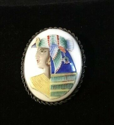 Antique Art Deco Egyptian Revival Sterling Hand Painted Pin