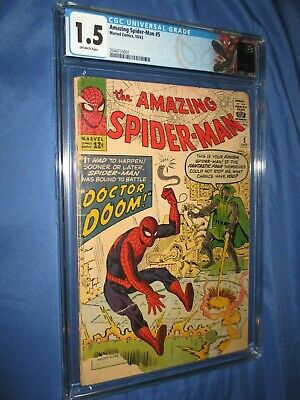 THE AMAZING SPIDERMAN #5 CGC 1.5 ~Doctor Doom Appearance 1963 (Fantastic Four)