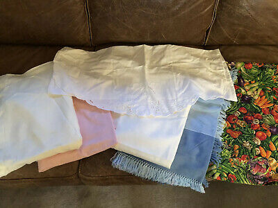 Lot Of 7 Vintage Tablecloths For Use/Repurpose/Reuse