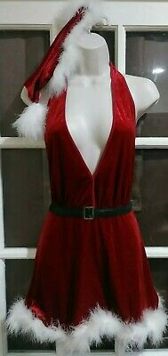 New Vintage Woman's 1X Sexy Mrs. Santa Christmas Red Lingerie Babydoll Set