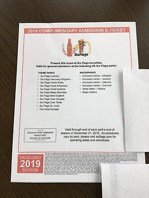 1 Six Flags Single Day General Admission Tickets - Any US Six Flags Park 2019