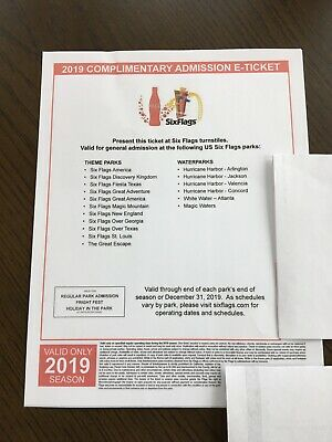 (2) Six Flags Single Day General Admission Tickets - Any US Six Flags Park 2019
