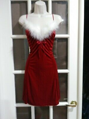 New Vintage Woman's Large Sexy Mrs. Santa Christmas Red Lingerie Babydoll Set