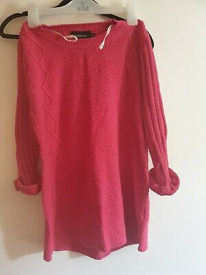 Mink Pink Hot Pink Knitted Sweater Crop Sleeve S