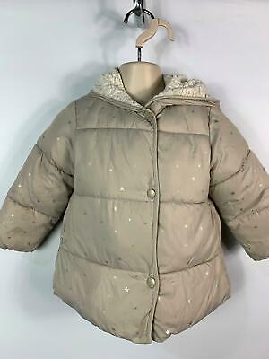 Girls Zara Baby Beige Star Padded Winter Puffer Jacket Coat Kids Age 18/24 Month