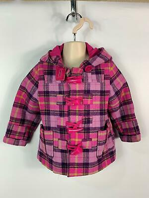 Girls Next Purple Check Hooded Winter Duffle Jacket Coat Kids Age 12/18 Months
