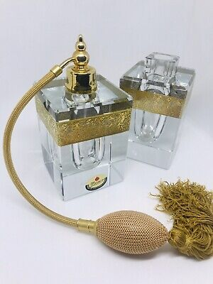 ANTIQUE / COLLECTORS Moser Art Deco perfume CRYSTAL bottle With extra Bottle!