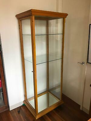 2 Display cabinets glass and wood with lights