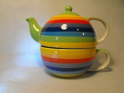 Tea For One Teapot Quality Porcelain RAINBOW TEAPOT STACKING CUP AND TEAPOT GIFT