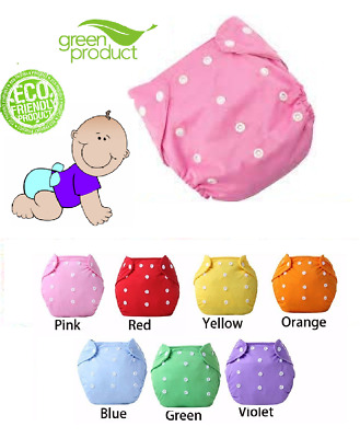 Baby Cloth Diapers Washable Reusable Pocket Nappies Waterproof Adjustable 3-15kg