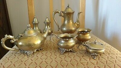 Antique Ornate Epns Teapot Coffee Pot Salt Pepper Sugar Bowl Milk Jug Honey Pot