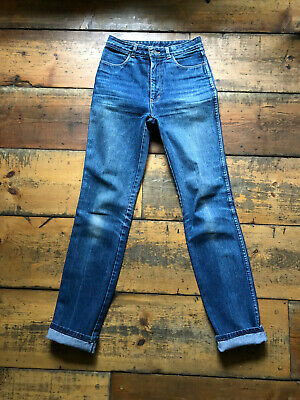 Vintage 70's mid blue denim retro high waisted 'EASY' jeans size 12 W30 L32