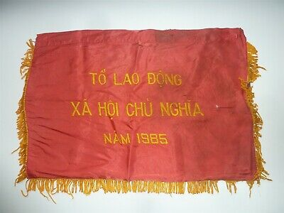 1985 Vietnam War Communist Part Award Banner To Govt Labour Unit For Hard Work