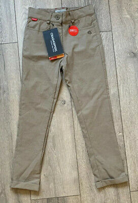 Girls New Craghoppers Nosilife Stretch Trousers Stone Age 5-6 Solar shield