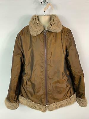 Girls Marks&Spencer Brown Zip Up Casual Coat Faux Fur Jacket Kids Age 9/10 Years