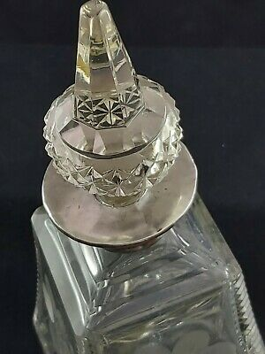 Large Silver topped PERFUME BOTTLE 1924 Sterling Silver collar
