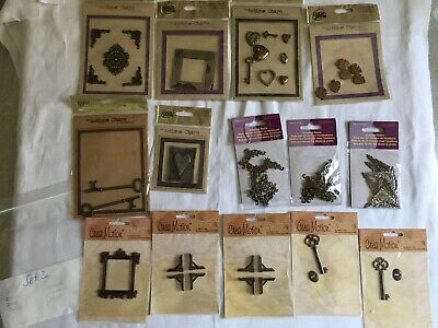 14 Päckchen Pixie Press Antique Charms - Crea Motion -Embellishments -Scrappbook