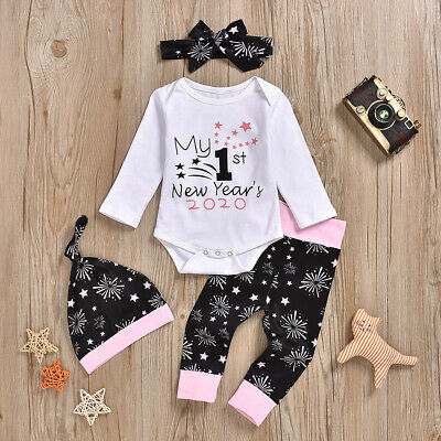 Baby Girls Winter Letter Print Newborn Cotton Romper Pants Hats Hairband Clothes