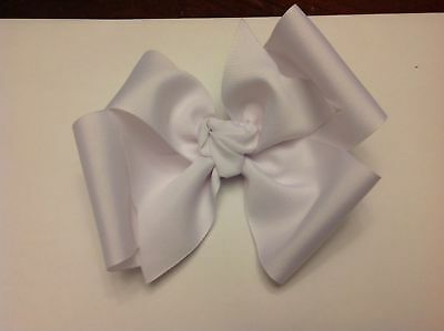 3 Inch Wide Boutique Pinwheel Hair Bow White Clip Toddler Homemade Girl
