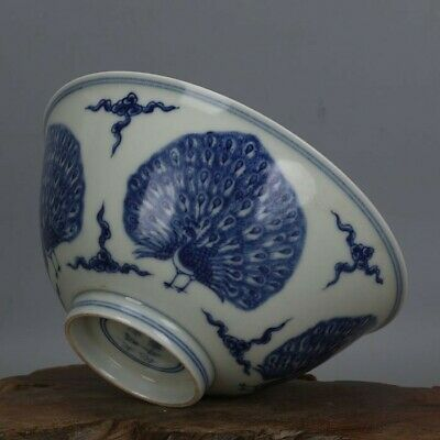 Chinese Ming chenghua marked old antique Porcelain blue white Peacock bowl