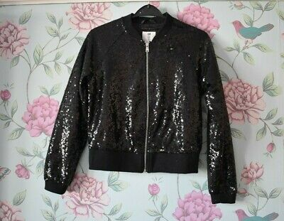 Girls H&M Age 12-13 Years Black Sequin Party Coat Jacket