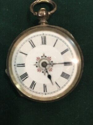 Pocket Watch With A Key Winding Movement Enamel Dial Painted Centre 800 Silver