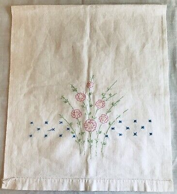 Vintage Hand Embroidered Table Runner Pink Flowers on White Cotton 37 inches