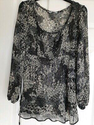 Excellent Condition Tu Black And Grey Sheer Print Top Size 16